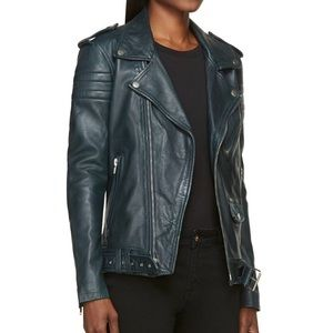 BLK DNM Emerald Blue Leather Jacket 8